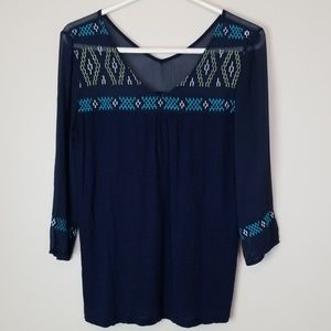Lucky Brand medium navy colored embroidered shirt